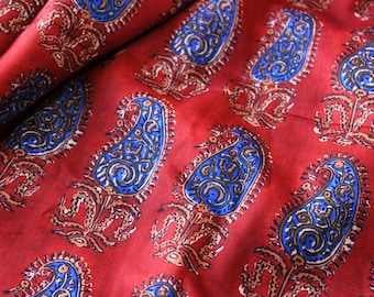 1 yard of Paisley Print Fabric, Ruby Red Silk Fabric, Indian Silk Fabric, Muslin Silk Fabric