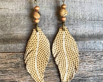 Leather Earrings, Leather Feather earrings, Hand Made Leather Earrings, Beaded leather earringsHenuine leather