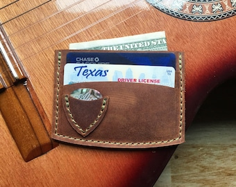 GUITAR PICK CARD Wallet - Leather Card Wallet - Mens Leather Wallet - Minimalist Wallet - Simple Card Wallet