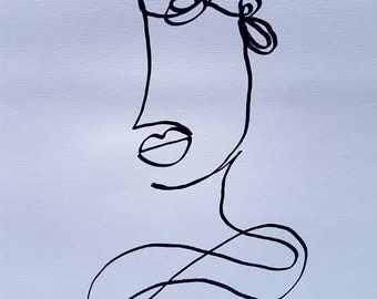 Impatiently Waiting. - A3 Original Continuous Line Portrait Drawing on Paper - FREE SHIPPING
