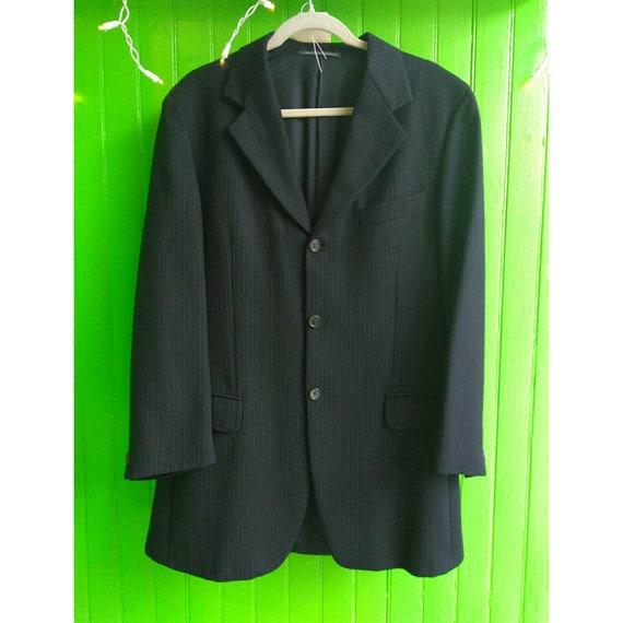 Vintage Romeo Gigli Men's Blue Striped Wool Jacket Large