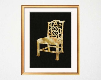 Chinoiserie Art Print, Gold Black Chinese Chippendale Chair Print, Palm Beach Chic, Hollywood Regency, Black Gold Asian Chair Art Print