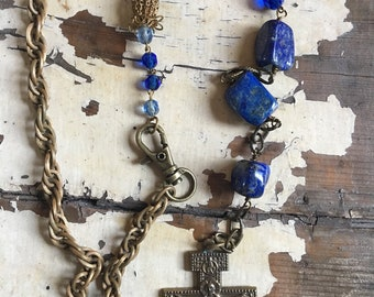 Blue Lapis Assemblage Vintage Necklace Repurposed Religious Cross Rosary Beads