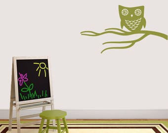 Cute Owl On Branch - Nursery Kid's Room Trees and Branches Animal Wall Decals