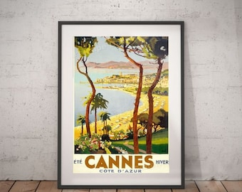 cannes, cannes travel poster, wall decor, vintage