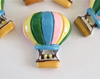 Hot Air Balloon Cabochons Embellishment Buttons lot of 2