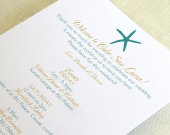 Beach Starfish Wedding Itinerary Card - Welcome Bag Card - Destination Events Card - Custom Colors