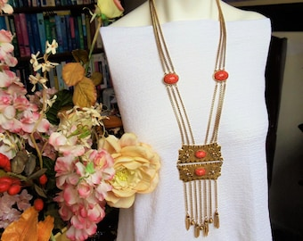 Vintage Tribal Faux Coral & Pearls Necklace, Faux Salmon Coral White Faux Pearls Gold Tone Metal Tassel w/Dangles Southwestern Necklace