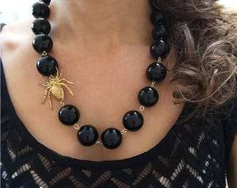Spider Necklace, Black Statement Necklace, Insect Jewelry, Black Necklace, Bug Necklace, Spider Jewelry, Insect Necklace, Spiders, Halloween