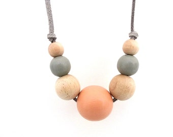 Peach and gray graduated wood bead necklace, natural jewelry, spring jewelry, pastel and wood jewelry