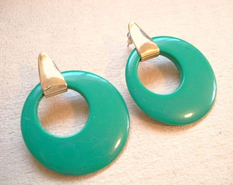 Vintage Green Hoop Earrings Retro Hoop Earrings Gold Green Earrings 1980 Large Earring