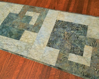 Modern Quilted Batik Table Runner in Shades of Blue Gray Brown, Dining Table Decor, Dresser Runner, Quilt Table Runner, Quilted Tablecloth