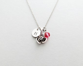 Flower Initial Necklace Personalized Hand Stamped - with Silver Flower Charm and Custom Bead