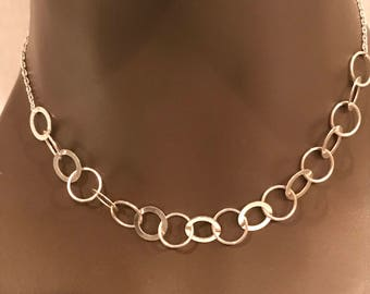 Sterling Silver Circle Link Necklace