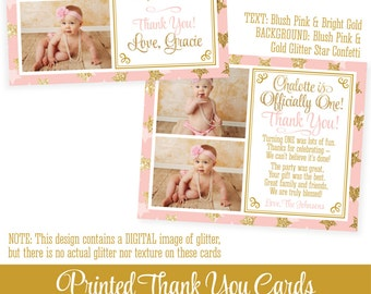 """Twinkle Little Star Birthday Thank You Card w 2 Photos - Pink Gold Glitter Personalized Custom Professionally Printed FLAT Cards 5.25""""x4.25"""""""