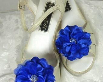 Shoe Embellishments, Charmeuse Shoe Clips, Royal Blue Shoe Clips, Flower Shoe Clips, REX16-406