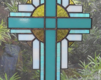 Stained Glass Cross Suncatcher, Turquoise Green, #117