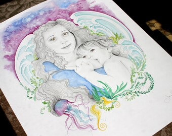 Custom Artwork Custom Fantasy Portrait Personalized Gift for Your Wife Gift for Her Hand Drawn Portrait Breastfeeding Portrait Mom Daughter