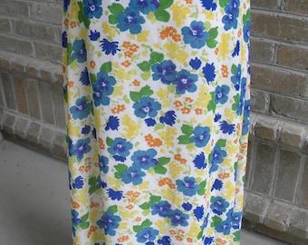 Vintage Limited America Pansy Print Long Maxi Floral Skirt / Vintage Maxi Skirt / Floral Maxi Skirt / Long Skirt