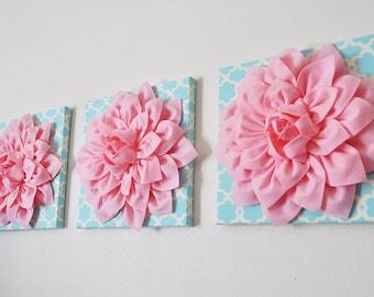 "THREE Nursery Wall Hangings- Light Pink Dahlia on Blue Tarika 12 x12"" Canvas Wall Art- Baby Nursery Wall Decor-"