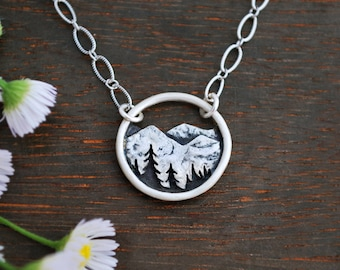 Round Mountain Landscape Necklace - Circle Nature Pendant - Sterling Silver - Hiker Camper Nature Lover Gift - Everyday Necklace