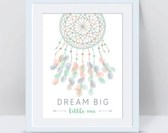 Dreamcatcher Thumbprint GuestBook, Baby Shower or Wedding Guest book Fingerprint Guest Book Wedding Bridal Shower Guestbook Dream Catcher