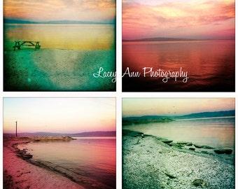 Salton Sea Photo Set of four sunset fish home decor