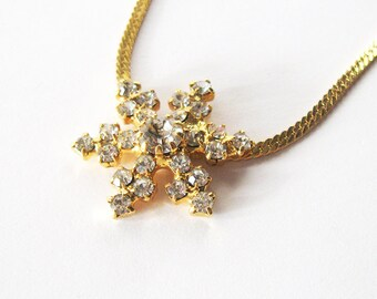 Rhinestone Snowflake Necklace, Gold Plated Herringbone Chain, Prong Set White Stones