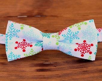Boys Christmas Snowflake Bow Tie - red green blue snowflakes on white cotton bow tie, baby boy bowtie, toddler holiday bow tie, wedding tie