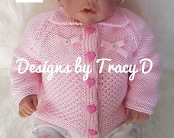 Elsie Baby Cardigan, Hat & Booties knitting pattern, 0-12mths