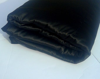 Black Satin Blanket Throw - Large Throw Blanket - Living room Accent - Bedroom throw blanket - couch throw blanket - modern throw blanket