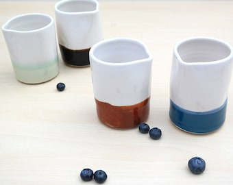 Ceramic Creamer - Navy Blue + White
