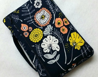 Bible Cover Modern Flowers on Navy Your Book Measurements Required