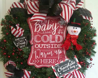 Baby it's cold outside wreath, Snowman wreath, Christmas wreath, Winter wreath, hot chocolate wreath