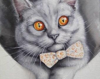 Silver British Cat Oil Painting cat