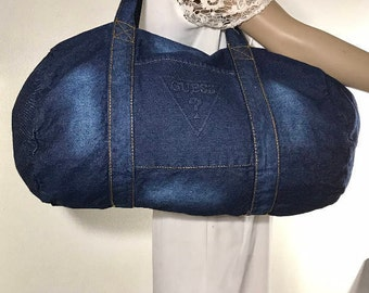 Denim purse,Guess, Blue, Denim, Duffel Bag