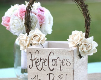 Shabby Chic Flower Girl Basket Rustic Wedding Decor Here Comes The Bride Paper Flowers (Item MHD20097)