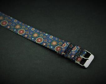 Navy Blue Paisley Slip Thru Nylon Watch strap - 20mm Timex Weekender Seiko