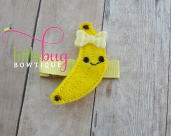 Banana, Banana Hair Clip, Banana Hair Bow, Banana Barrette, Girl Hair Clip, Baby Hair Clip, Toddler Hair Clip, Birthday, Wool Felt, Gift