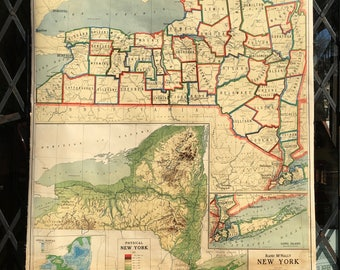 Antique School Map of New York State Pull Down Classroom Rand McNally