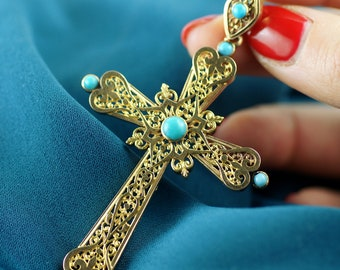 Old silver cross in gold and turquoise - 19th century / / / Antique gold cross with turquoise - 19th Century