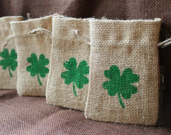 St. Patrick's Day Small burlap bag. Shamrock burlap sack.  St. Patrick's Day Favor.  Lucky bags.