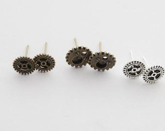Gear Earrings, Steampunk Gear Earrings, Steampunk Earrings, Mechanic Earrings, Gear Jewelry, Steampunk Cosplay, Cyberpunk Earrings