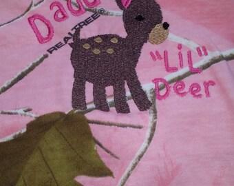"Daddy's ""Lil"" Deer Pink Camo Bodysuit"