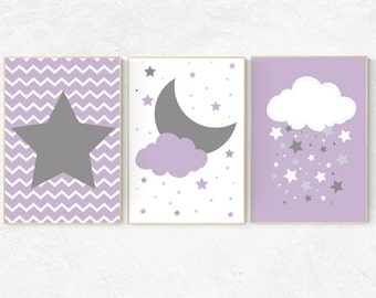 Purple nursery decor, Purple Grey Nursery, baby girl nursery, purple gray nursery, cloud nursery, girls room decor, star nursery decor girl