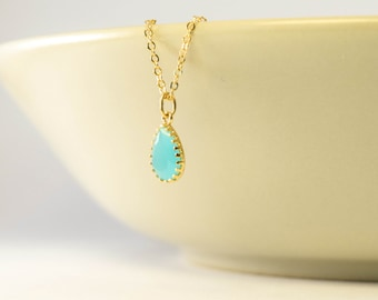 mint gold necklace, mint necklace, mint bridesmaid necklace, gold plated 2 micron, bridesmaid gift, gold necklace blue stone mint bridesmaid