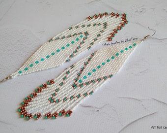 Beaded earrings, seed bead earrings, white earrings, long beaded earrings, bead earrings, white beaded earrings, white wedding earrings