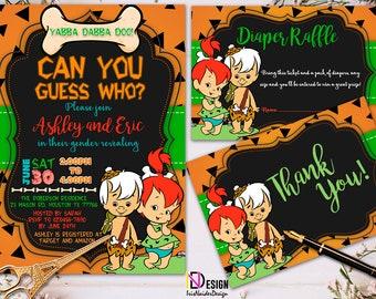 The Flintstones gender reveal, Pebbles gender reveal Invitation, Pebbles Invitation, Flintstones Invitation, gender reveal, Bam Bam Pebbles