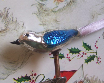 vintage blown glass bird clip on