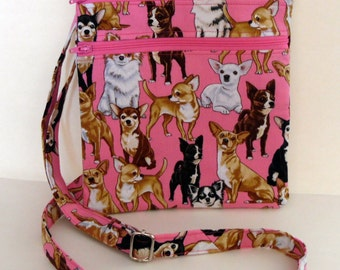 Chihuahua Hipster Bag, Pink Chihuahua Cross Body Bag, Adjustable Strap Crossbody Bag, Dog Lover Crossbody Bag, Handmade by AnnieKDesigns